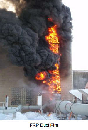 FRP duct fire