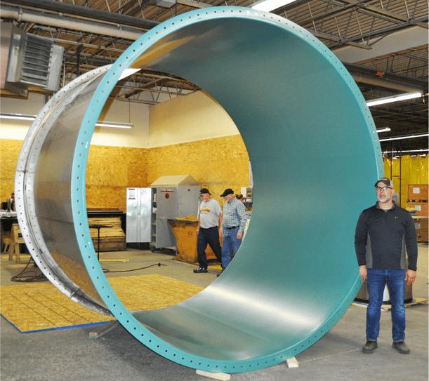 "Fab-Tech's first 120"" diameter fume exhaust duct"