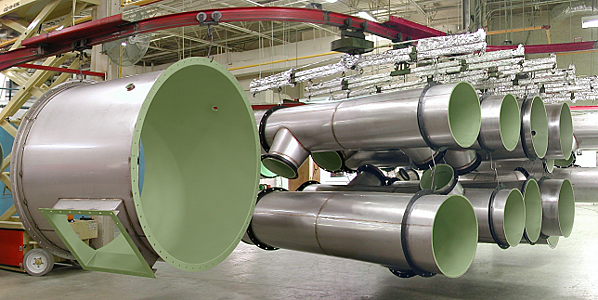 Fluoropolymer coated stainless steel vent pipe