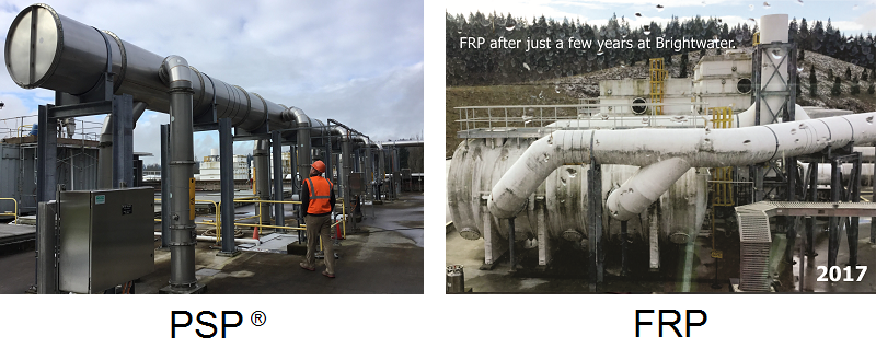 Wastewater treatment technologies comparison PSP vs FRP duct